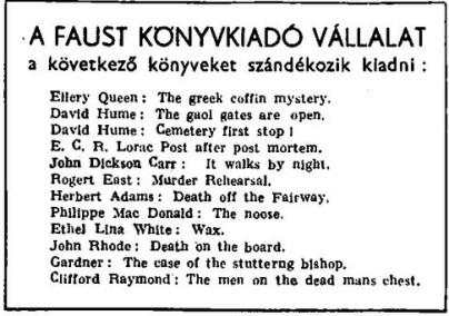 Faust kiadó tervei (1946)