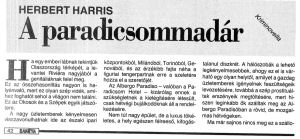Herbert Harris: A paradicsommadár