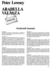 Peter Lovesey: Arabella válasza