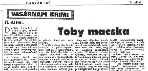 Robert Edmond Alter: Toby macska